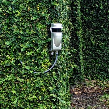 Large red scan laser mounted on wall covered with ivy